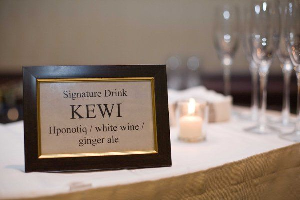 The specialty drink name was formed from part of the bride and groom's first names. It was a...