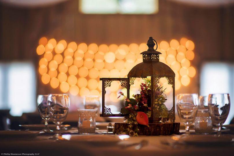 Lantern and flower centerpiece