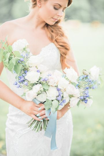 Bride with a fresh bouquet