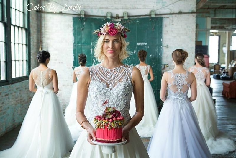 Bride and her wedding cake