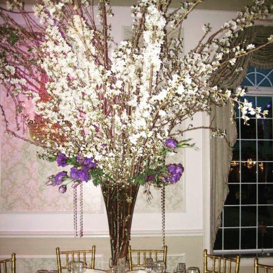Fresh cherry bloom centerpiece