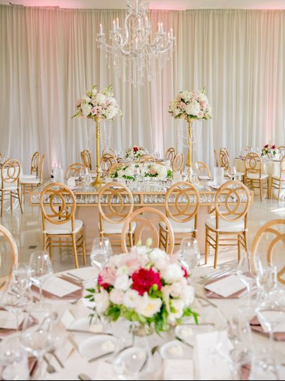 Glitzy wedding reception