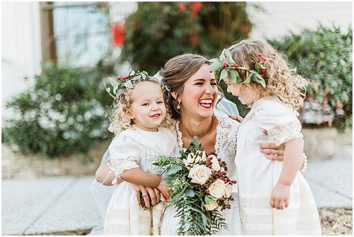 Winter bride with flower girls