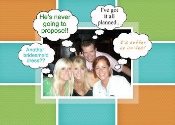 Front of card - funny thought bubbles added