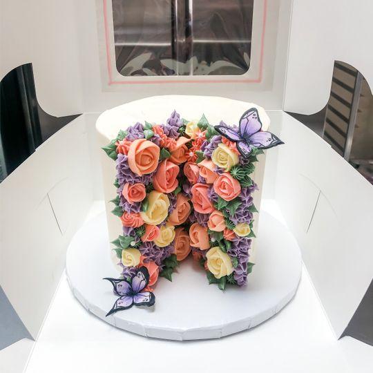 Garden Split Floral Cake