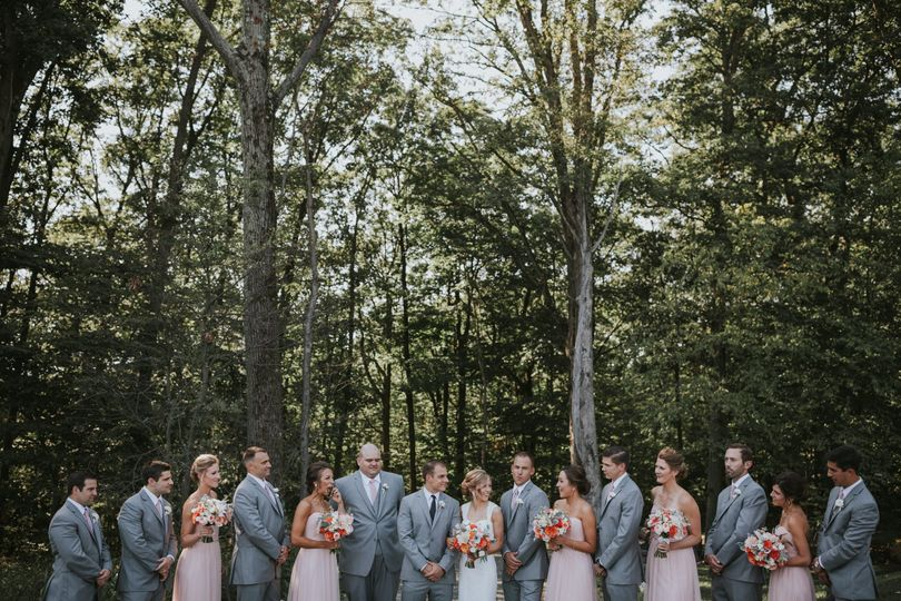 The wedding party in the woods