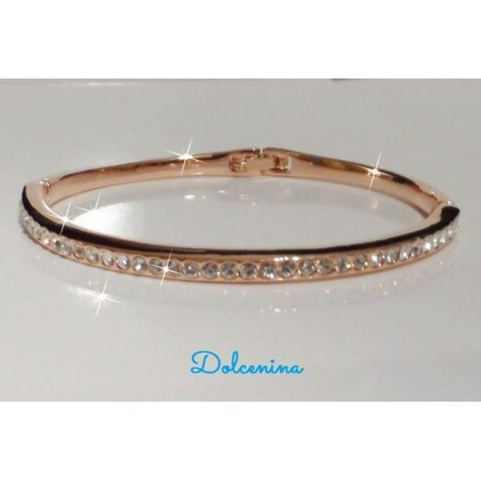 classic swarovski crystal bangle 14k rose gold pla