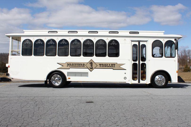 Long white bus