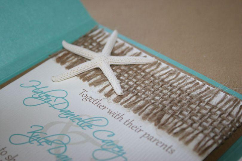 corbo wedding invite starfish upclose