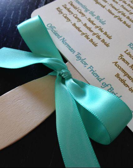 corbo wedding program fan front bow