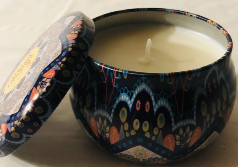 6oz decorative tin soy candle