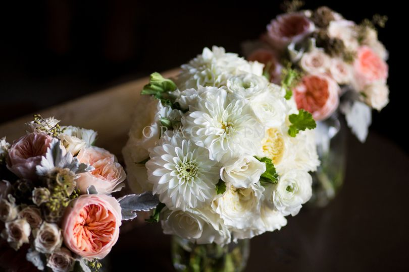 Grace Kim Floral & Event Design- white and pink wedding bouquets: garden roses, spray roses,...