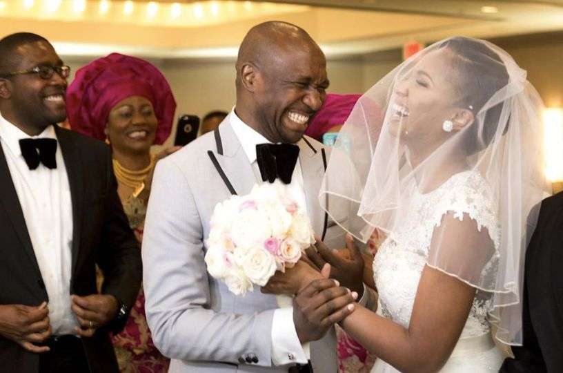 Nigerian wedding first look during the ceremony