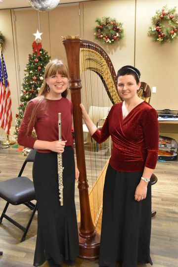 Flute & Harp playing for vets