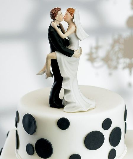 Kissing Wedding Couple Cake Topper- WS8446...Add a little fun with your romance, this couple shares...