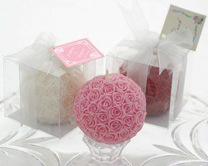 Rose Ball Candle in Gift Box with Matching Bow and Tag- Item # KA20076na...Rose ball candles are...