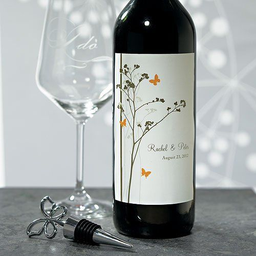 Romantic Butterfly Wine Label #WS1004-14...Add personalized flair to your champagne or wine bottles