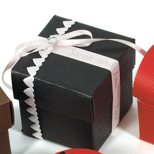 Black Wedding Favor Boxes (Set fo 10) - WS6103