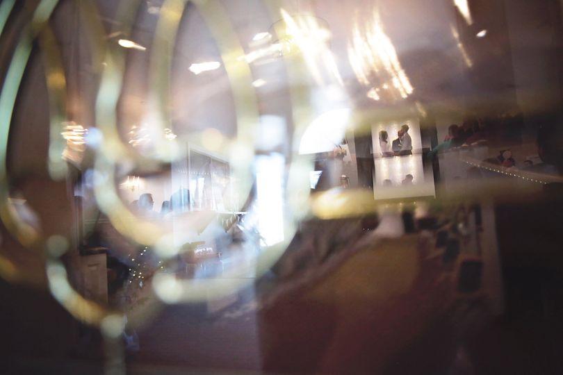 Through glass doors