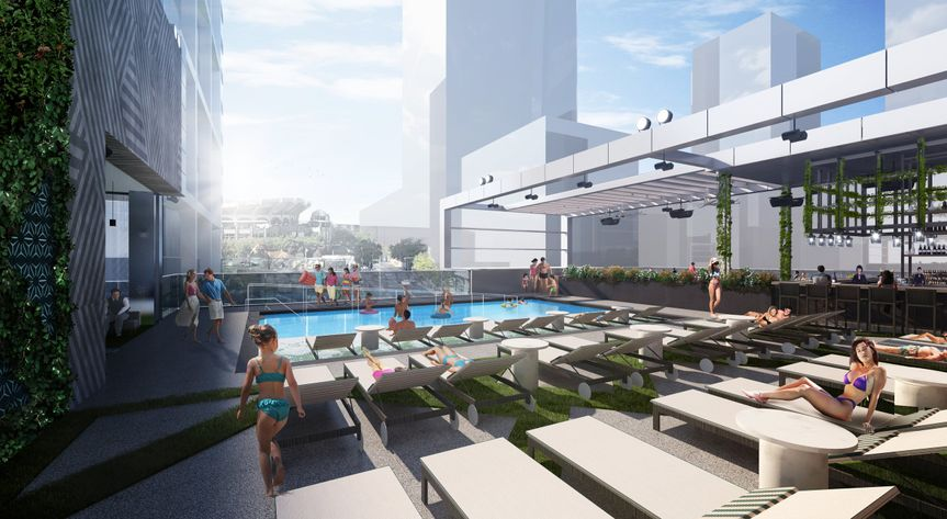 Modern rooftop pool area