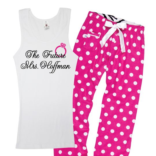 """Customize this """"Future"""" Mrs. Tank Top with your new last name and pair it up with these polka dot..."""