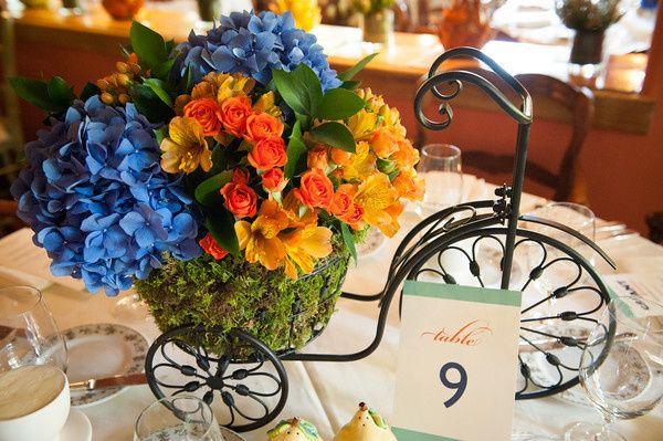 Flower arrangement on a bike figure