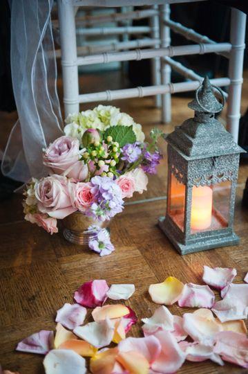 Floral decor, petals, and lantern