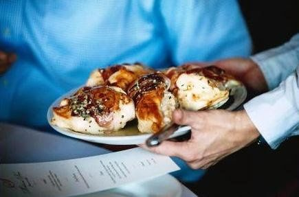 Family Style service of Italian Chicken Saltimbucco  -  always cooked on-site for best quality