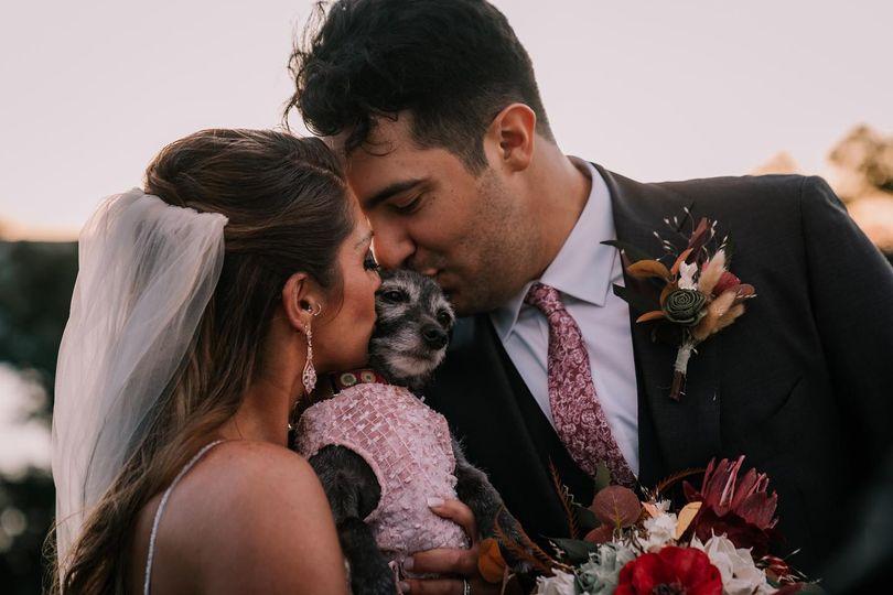Bride, Groom and Fur Baby