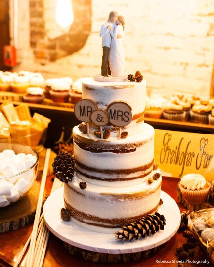 Three-tiered semi-naked cake