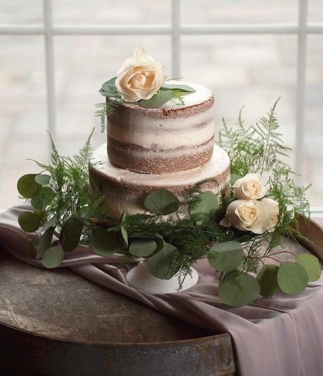 Two-tied semi-naked cake