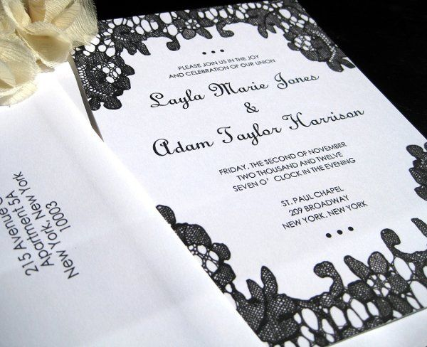 Hand Drawn Lace Invitation - available in various colors
