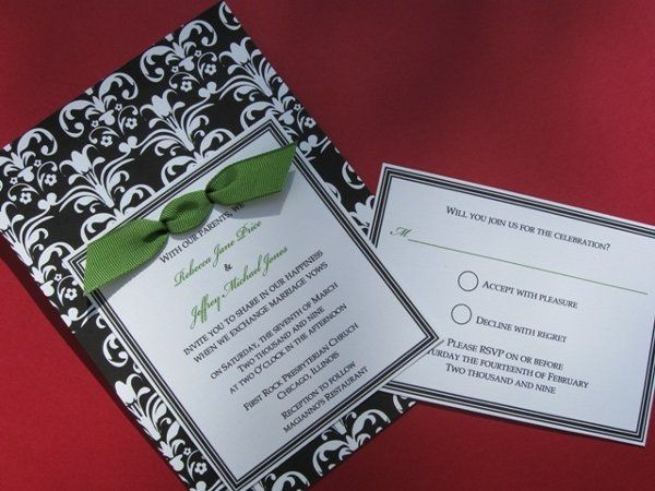 Black and white damask with lime green...YUMMY! This design features a three lined border invitation...