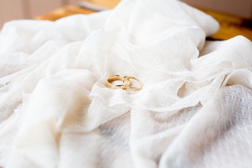 Rings nestled in vintage tulle