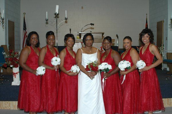 Movita (Pasley) O'Neal and her bridesmaids were all beautiful. The lovely red dresses maid everyone...