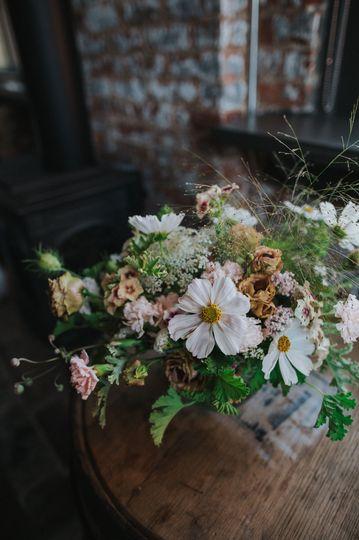 Low centerpiece with early summer flowersphoto by rachel joy barehl
