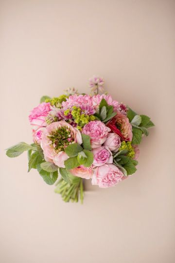 classic hand-tied bridal bouquet with spring flowers