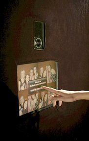 Photo Booth touch screen monitor for guests to select color or black & white photo outputs.