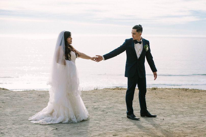 A beach wedding portrait