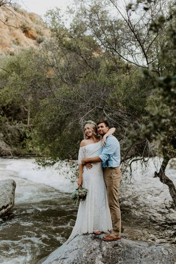 Rushing river bride and groom