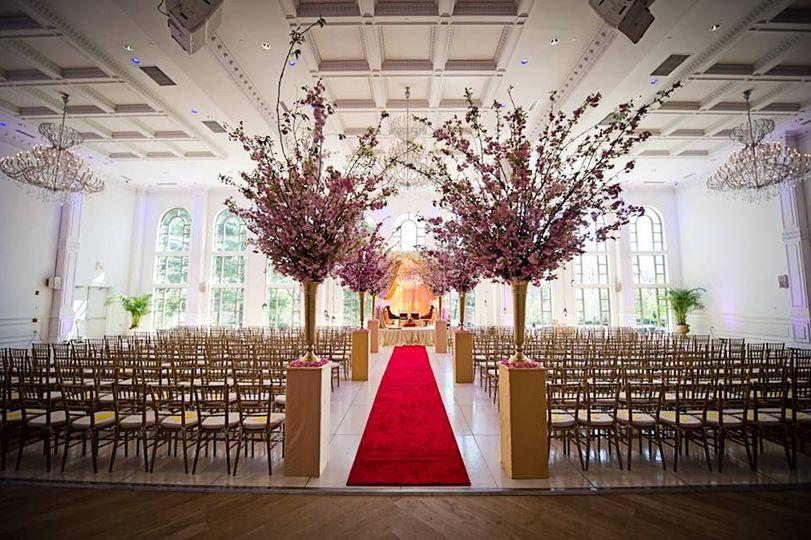 Red carpet wedding aisle