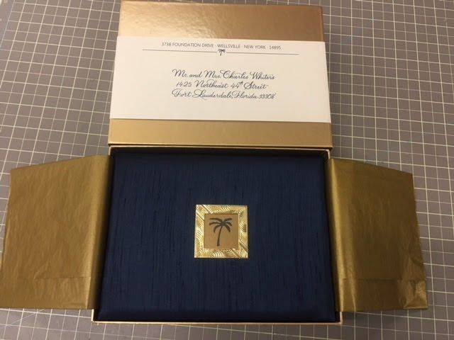 Address calligraphed on a paper band which wraps around the gift-boxed invitation. What a...