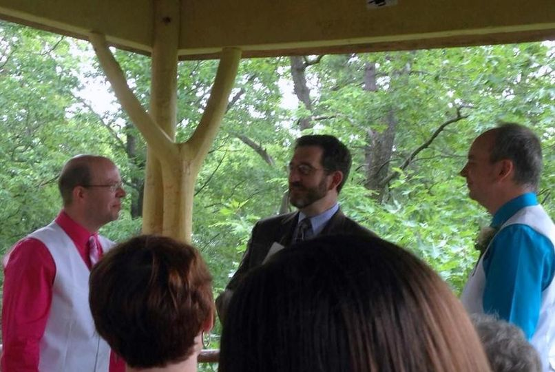 Outdoors, informal, nondenominational same-sex ceremony