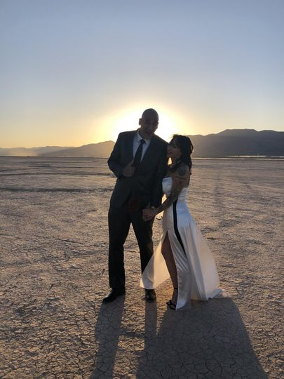Happy couple at Dry Lake Bed