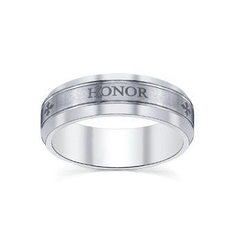 Engraved text on wedding band