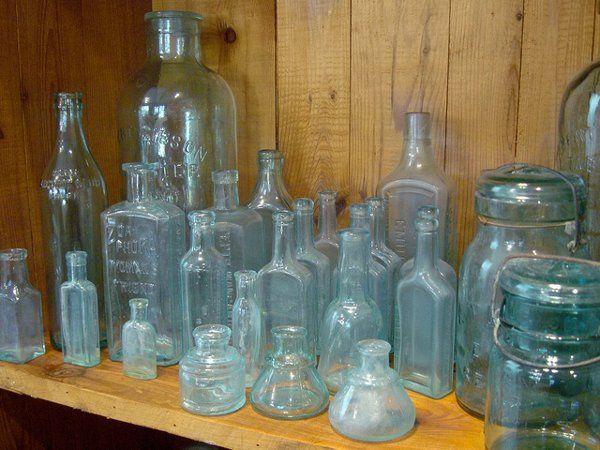 vintage pale blue bottles