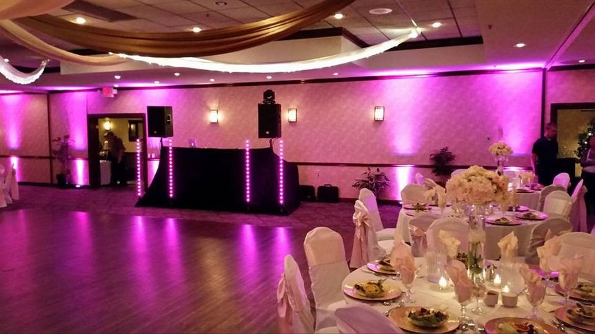 wedding setup with uplights