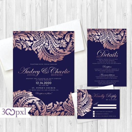 Navy and Rose Gold, Damask