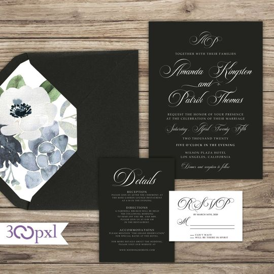 Black and White Wedding Invite