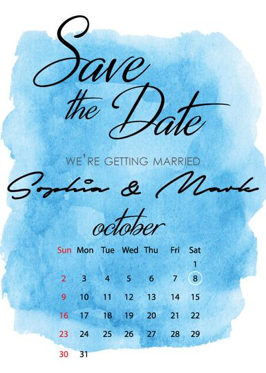 save the date calendar watercolor